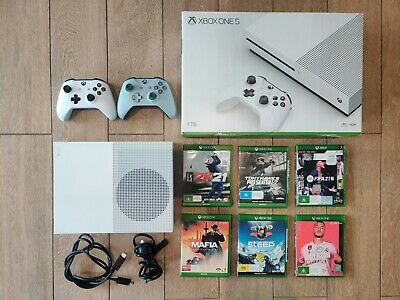 AU150 • Buy Microsoft Xbox One S 1TB Console 1.5 Years Old - With 6x Games & 2x Controllers