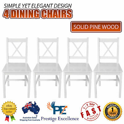 AU265.90 • Buy 4 Pcs Pine Wood Dining Chairs Set Kitchen Dinner Chair Seat Home Furniture White