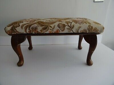 £39.99 • Buy Vintage Adjustable Foot Stool/Seat Fabric Covered- Queen Anne Wooden Legs-Gout