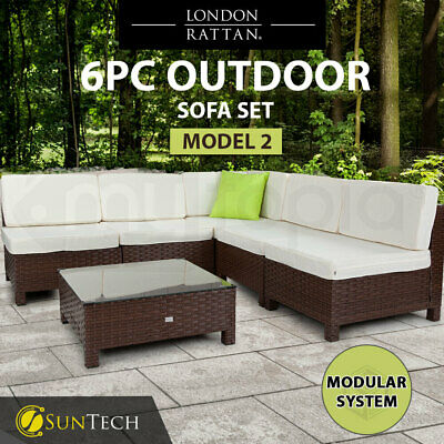 AU749 • Buy 【EXTRA10%OFF】6pc Outdoor Furniture Setting Wicker Lounge Patio Sofa Set
