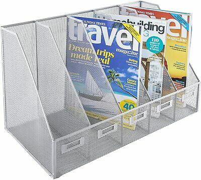 £26.99 • Buy 5 Slot Magazine Rack Wire Mesh BY OSCO IN Silver