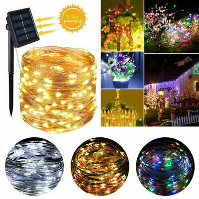£7.96 • Buy LED Solar Powered Copper Wire Lights Outdoor Fairy String Christmas Garden Lamps