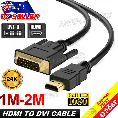 AU6.99 • Buy HDMI To DVI Cable Male DVI-D For LCD Monitor Computer PC  DVD Cord Lead NEW