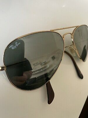 £42 • Buy RAY BAN  Aviator Sunglasses In Ray Ban Soft Case Gold With Green Mirrored Lenses
