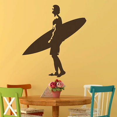 £10.69 • Buy Surfing Wall Stickers! Surf Board Transfer / Surfer Graphic Surfing Decor RA249