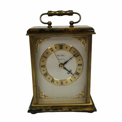 £19.99 • Buy Vintage Metamec Carriage Clock Brass / Faux Onyx Base And Top - Untested