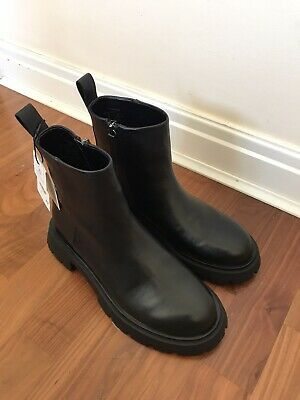 £50 • Buy ZARA Womens BNWT Flat Leather Platform Ankle Boots With Track Sole UK 6 Sold Out