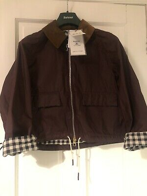 AU514.93 • Buy BNWT Barbour Alexa Chung Margot Wax Cropped Jacket Bordeaux Red Size 10 RRP £329