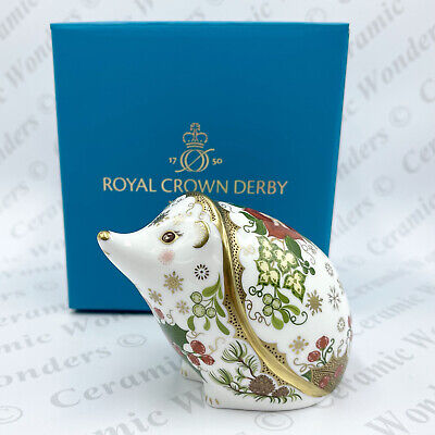 £170 • Buy Royal Crown Derby Christmas Hedgehog Paperweight (Boxed) Gold Stopper