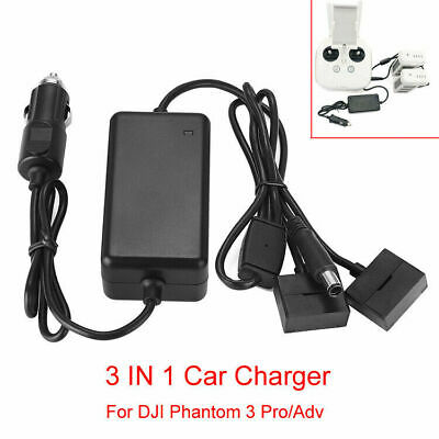 AU47.99 • Buy 3-in-1 Car Charger Battery Charging Adapter For DJI Phantom 3 Pro/Adv SE Drone