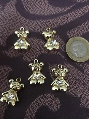 £4.50 • Buy 5 Gold Plated Teddy Bear Shaped Charm Pendants With Clear Heart Rhinestone