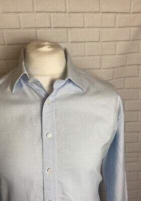 £13.99 • Buy Thomas Pink Shirt Light Blue Oxford 18  - 35.5  Slim Fit Double Cuff