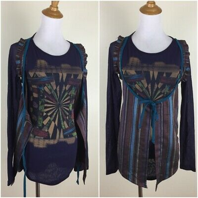 AU69.60 • Buy SAVE THE QUEEN Italy Womens Medium Mixed Fabric Print Mesh Shirt Striped Vest