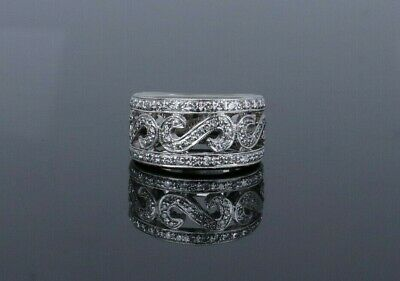 AU2626.44 • Buy $3900 18k White Gold 11mm Wide S Sign Band Ring Round Brilliant Diamond 5.5