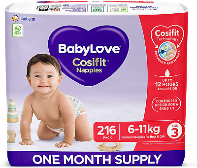 AU101.97 • Buy Babylove Cosifit Nappies, Size 3 (6-11Kg) One Month Supply (3 Packs Of 72, 216 N