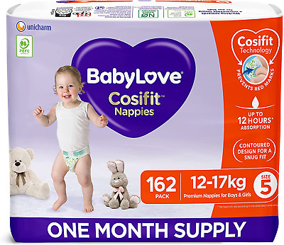 AU101.97 • Buy Babylove Cosifit Nappies, Size 5 (12-17Kg) One Month Supply (3 Packs Of 54, 162