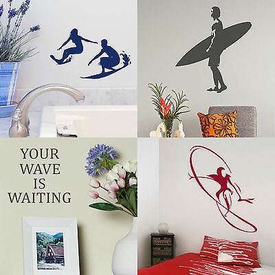 £10.99 • Buy Surfing Wall Stickers Surfer Home Vinyl Transfer Graphic Surf Board Decals Decor