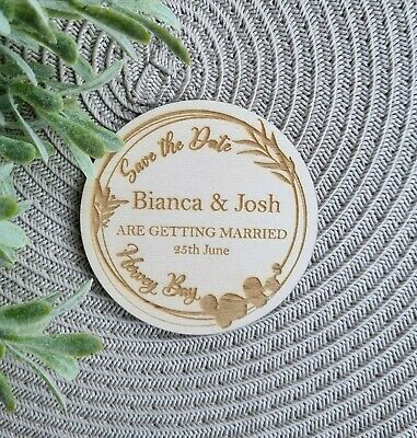 AU3 • Buy Save The Date Wreath Magnet Engraved Wood Wedding