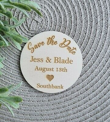 AU3 • Buy Save The Date Love Magnet Engraved Wood Wedding