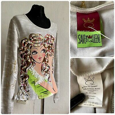 AU79.87 • Buy SAVE The QUEEN Top Size M Silver Long Sleeve