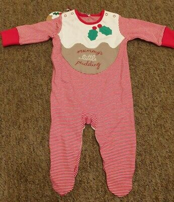 £1.90 • Buy NEW Next Red Striped Christmas Pudding Babygrow Sleepsuit Size 0-3 Months
