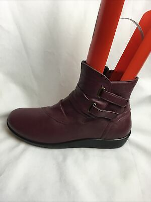 £11.99 • Buy Freedom Fit Ladies Ankle Boots UK Size 6 E EU 39 Burgundy Leather Wide Fit.