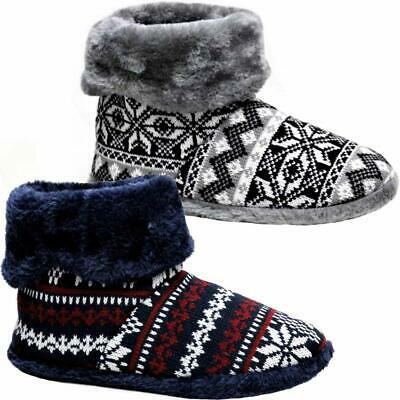 £14.95 • Buy Mens Slippers New Ankle Fleece Warm Lined Nordic Winter Boots Memory Foam Shoes
