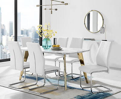 £254.99 • Buy Andria Contemporary Gold Leg Marble Effect Dining Table And  6 Lorenzo Chairs