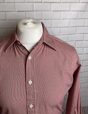 £9.99 • Buy T.M. Lewin Shirt Red Check 16  - 35  Slim Fit Double Cuff
