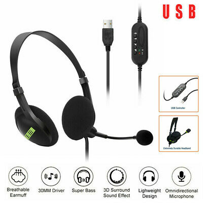 £9.39 • Buy Computer Headset USB Wired Over Ear Headphones For Call Center PC Laptop Skype