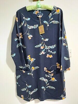 £35 • Buy Bnwt Joules  Floral Jersey Navy Tunic With Pockets Size 18/ More Than Size 16