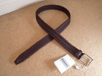 £35.99 • Buy NEW ANDERSONS ITALY DARK BROWN WOVEN TEXTILE LEATHER BELT SILVER BUCKLE Size 95