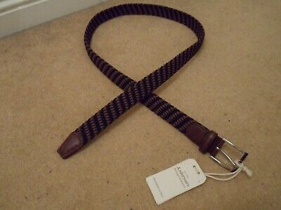 £35.99 • Buy New Andersons Italy Brown & Blue Woven Textile Leather Belt Silver Buckle 100