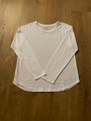 AU25 • Buy Witchery Long Sleeve Linen Tee (Pure White) - Medium - BNWOT **Current Style**