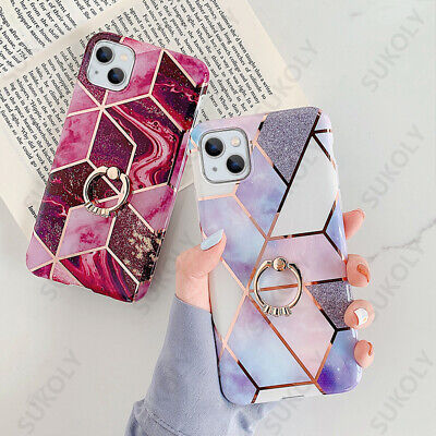 AU5.59 • Buy Marble Ring Holder Case For IPhone 13 12 Pro Max 11 XR XS X 8 7 Shockproof Cover