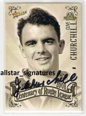 AU37 • Buy Signed Clive Churchill Rabbitohs 2008 Centenary Top 100 Nrl Card Immortal Proof