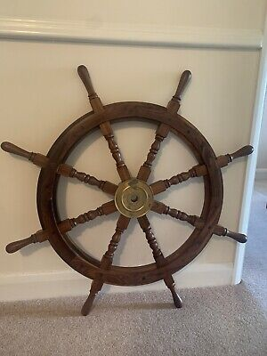 £55 • Buy Antique Wooden Ship Wheel  Vintage Maritime Ships Pirate Wall Decor Home