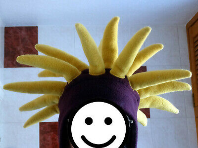 £0.99 • Buy Jester Banana Hat, Purple And Yellow, 19 Filled Padded Spikes, Polyester