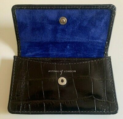 £12 • Buy Aspinal Of London Mens Luxury Black Leather Credit Business Card Case RRP £75