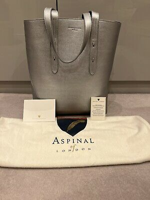 £120 • Buy Aspinal Of London Essential 'A' Tote Silver Leather - Brand New Sealed