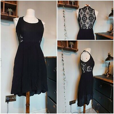 £7.99 • Buy Gorgeous Zara Black Crinkle High Low Dress With Open Crochet Back & Sides Size S