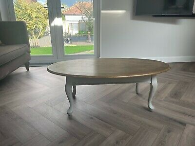 £10 • Buy Grey Coffee Table Queen Anne Legs With Gold Waxed Top - Shabby Chic Rustic