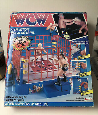 £120 • Buy WCW Galoob Ring Boxed With Hammer, Cage & Booklet Manual WWF WWE Hornby Box 1991