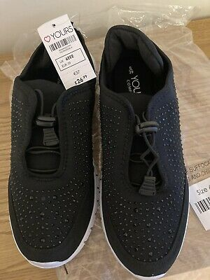 £10 • Buy Ladies Black Embellished Trainers Shoes Wide Fit Size 6 EEE Bnwt Yours