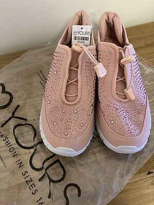 £10 • Buy Ladies Yours Pink Embelished Trainers Shoes Wide Fit Size 6 EEE Bnwt Comfort
