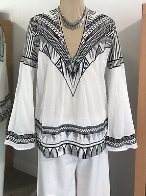 AU60 • Buy SASS & BIDE Size 12-14 Tunic TOP  Space Shuttling  White COTTON Black EMBROIDERY