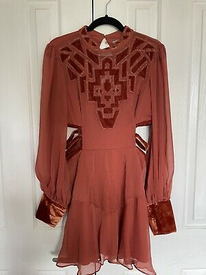 AU10 • Buy Orange Rust ASOS Mini Dress With Beads And Cut Outs - Size 14 Never Worn