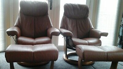 £800 • Buy Lazeboy Brown Leather Recliner And Swivel Chairs With Foot Stools