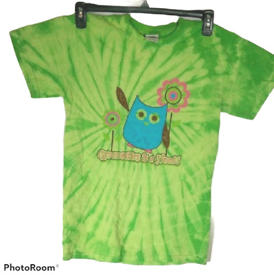 £0.72 • Buy Women's Owl T-Shirt Size Small Gymnastics Is A Hoot Green Tie Dye Graphic