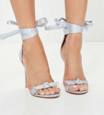 £10 • Buy BRAND NEW Missguided Womens Grey Silver Satin Style Tie Up Heel Shoes Size 6